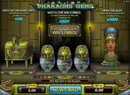 Scratch cards online casino Pharaoh's Gems